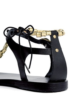 Detail View - Click To Enlarge - ANCIENT GREEK SANDALS - 'Chrysso' metal bead leather thong sandals