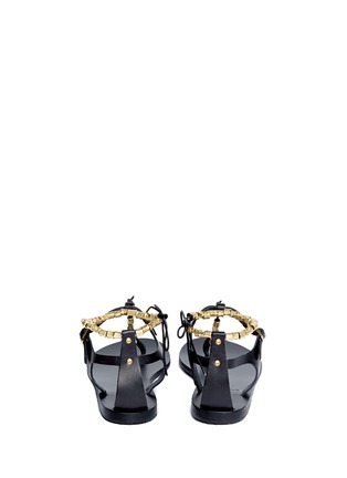 Back View - Click To Enlarge - ANCIENT GREEK SANDALS - 'Chrysso' metal bead leather thong sandals