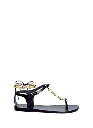 Main View - Click To Enlarge - ANCIENT GREEK SANDALS - 'Chrysso' metal bead leather thong sandals
