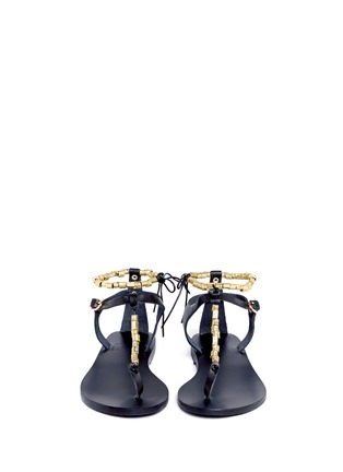 Figure View - Click To Enlarge - ANCIENT GREEK SANDALS - 'Chrysso' metal bead leather thong sandals