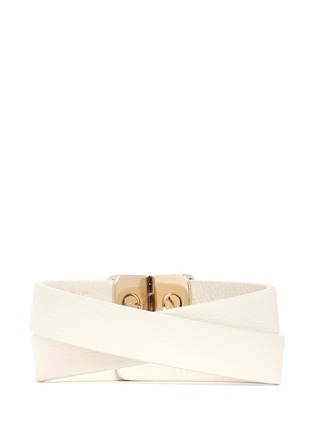 Back View - Click To Enlarge - Valentino - 'Rockstud' double wrap hinge leather bracelet