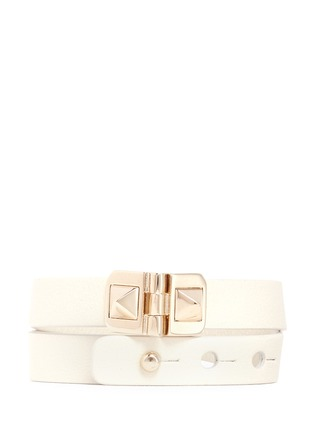 Main View - Click To Enlarge - Valentino - 'Rockstud' double wrap hinge leather bracelet