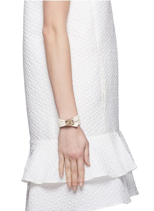 Figure View - Click To Enlarge - Valentino - 'Rockstud' double wrap hinge leather bracelet