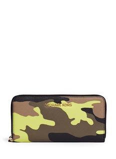 MICHAEL MICHAEL KORS'Jet Set Travel' camouflage zip-around continental wallet