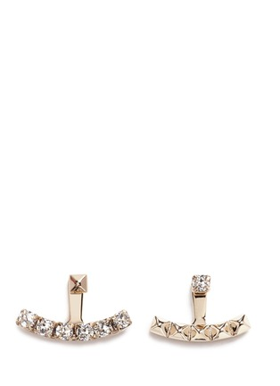 Main View - Click To Enlarge - Valentino - 'Rockstud' glass crystal anchor jacket asymmetric earrings