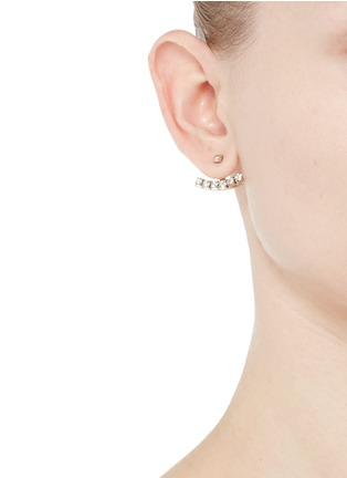 Figure View - Click To Enlarge - Valentino - 'Rockstud' glass crystal anchor jacket asymmetric earrings