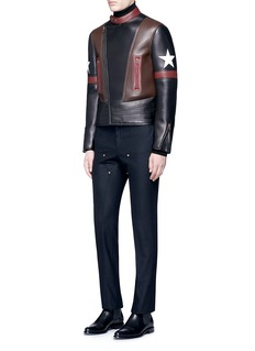 Givenchy Colourblock star patch leather biker jacket