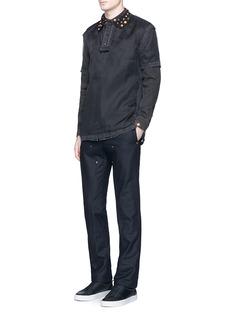 GivenchyStudded collar denim shirt