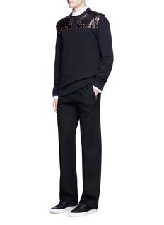 GivenchyStudded leather yoke sweatshirt