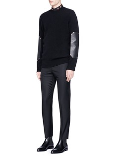 Givenchy Leather elbow patch wool sweater