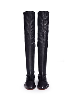 Givenchy Chain trim heel leather thigh high boots