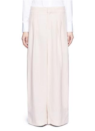Main View - Click To Enlarge - Chloé - Pleat linen blend wide leg pants