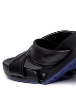 'Figomatic' leather strap hinged slide sandals