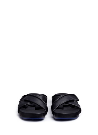 Front View - Click To Enlarge - Figs By Figueroa - 'Figomatic' leather strap hinged slide sandals