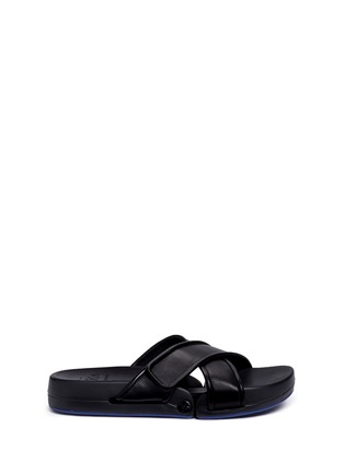 Figs By Figueroa-'Figomatic' leather strap hinged slide sandals