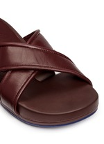 'Figomatic' leather strap hinged slide sandals