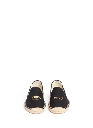 Front View - Click To Enlarge - Soludos - x Jason Palon 'Wink' embroidery cotton espadrilles