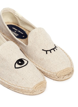 Detail View - Click To Enlarge - Soludos - x Jason Polan 'Wink' embroidery cotton espadrilles
