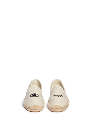 Front View - Click To Enlarge - Soludos - x Jason Polan 'Wink' embroidery cotton espadrilles