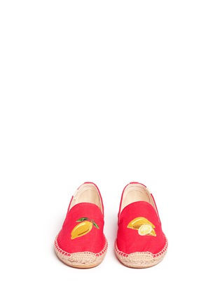 Front View - Click To Enlarge - Soludos - x Jason Palon 'Lemons' embroidery linen espadrilles
