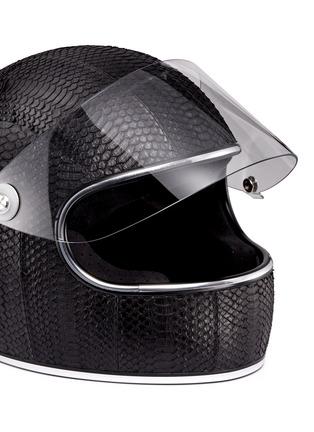 Detail View - Click To Enlarge - Elisabeth Weinstock - 'California' water snake leather motorcycle helmet