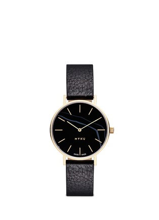 Myku&nbsp;-&nbsp;One of a kind<br/>Black onyx gold plated watch