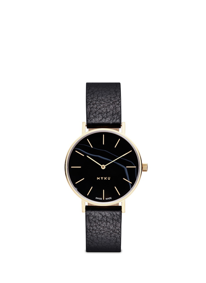 One of a kind Black onyx gold plated watch by Myku