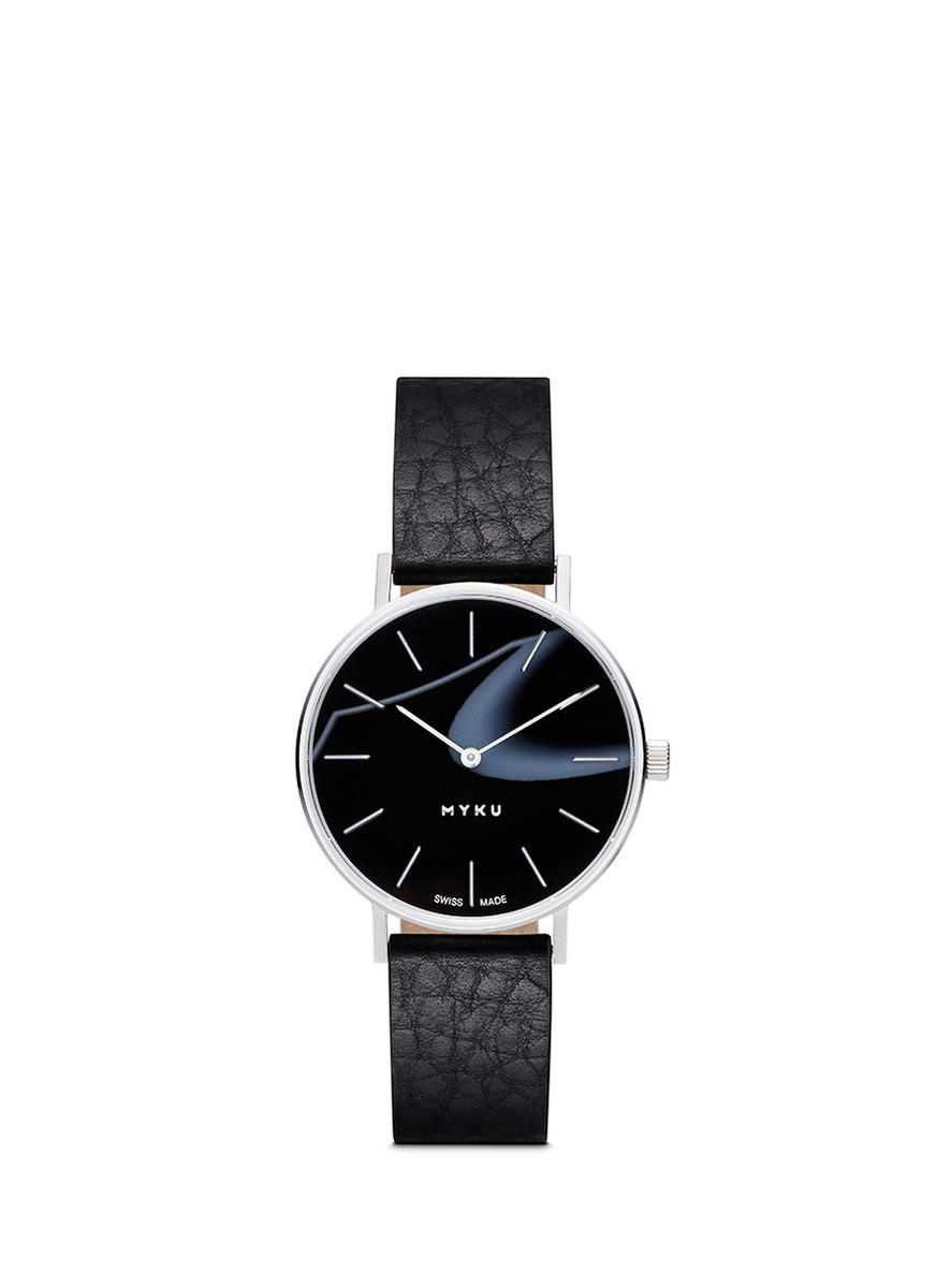 One of a kind Black onyx stainless steel watch by Myku