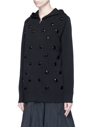 Front View - Click To Enlarge - Marc Jacobs - Jewel embellished zip-up knit hoodie