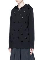 Jewel embellished zip-up knit hoodie