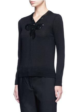 Front View - Click To Enlarge - Marc Jacobs - Sequin embellished wool cardigan