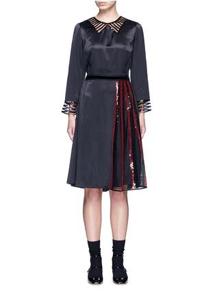 Marc Jacobs-Sequin mesh insert waist tie dress