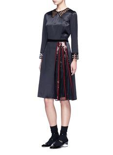 Marc JacobsSequin mesh insert waist tie dress