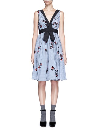 Main View - Click To Enlarge - Marc Jacobs - Flocked floral print gingham poplin bow dress