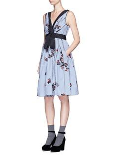 Marc JacobsFlocked floral print gingham poplin bow dress