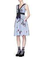 Flocked floral print gingham poplin bow dress