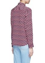 Neck tie diamond print silk shirt