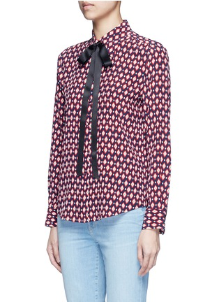 Front View - Click To Enlarge - Marc Jacobs - Neck tie diamond print silk shirt