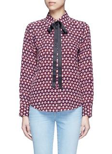 Marc JacobsNeck tie diamond print silk shirt