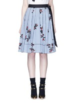 Floral gingham print flare skirt