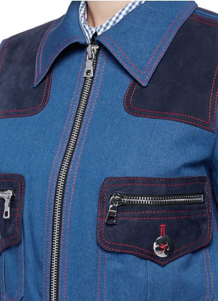 Detail View - Click To Enlarge - Marc Jacobs - Oversized suede patchwork cropped denim zip jacket