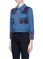 Oversized suede patchwork cropped denim zip jacket