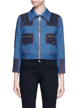 Main View - Click To Enlarge - Marc Jacobs - Oversized suede patchwork cropped denim zip jacket