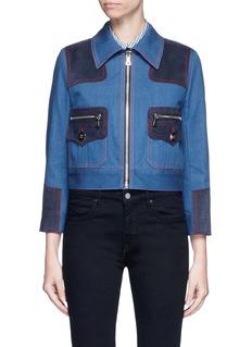 Marc JacobsOversized suede patchwork cropped denim zip jacket