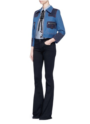 Figure View - Click To Enlarge - Marc Jacobs - Oversized suede patchwork cropped denim zip jacket