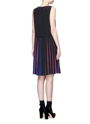Back View - Click To Enlarge - Marc Jacobs - Stripe pleat silk V-neck shift dress