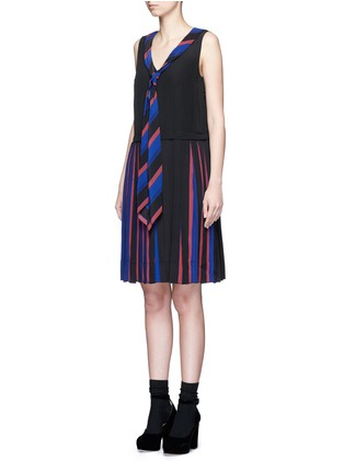 Front View - Click To Enlarge - Marc Jacobs - Stripe pleat silk V-neck shift dress