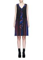 Stripe pleat silk V-neck shift dress
