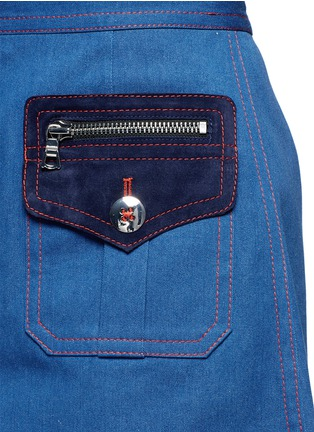 Detail View - Click To Enlarge - Marc Jacobs - Suede patchwork zip denim skirt