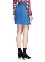 Suede patchwork zip denim skirt